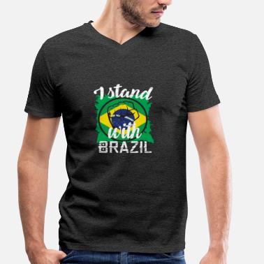 Ipanema I stood with Brazil - Men's Organic V-Neck T-Shirt by Stanley & Stella