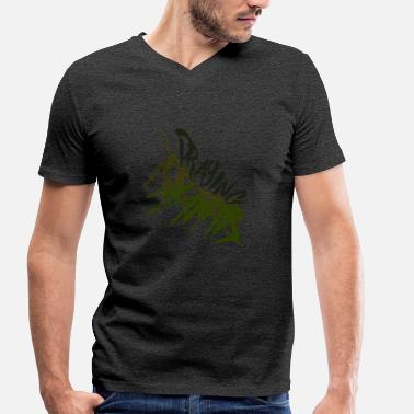 Letter A Graffiti Praying mantis with graffiti lettering - Men's Organic V-Neck T-Shirt by Stanley & Stella