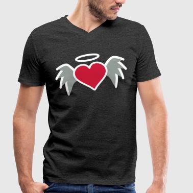 Angel Halo Heart with wings angel halo - Men's Organic V-Neck T-Shirt by Stanley & Stella
