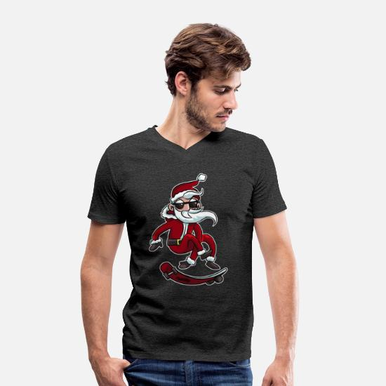 Snowman T-Shirts - Christmas Santa Claus Santa Skateboard Fun Gift - Men's Organic V-Neck T-Shirt charcoal grey
