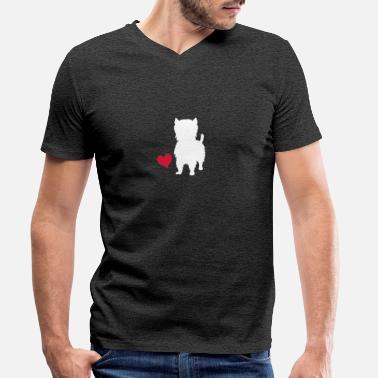 Highland West Highland Terrier - T-shirt med V-ringning herr