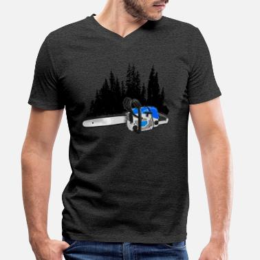 Dein Forstbetrieb - chainsaw & forest (blue) - Men's Organic V-Neck T-Shirt