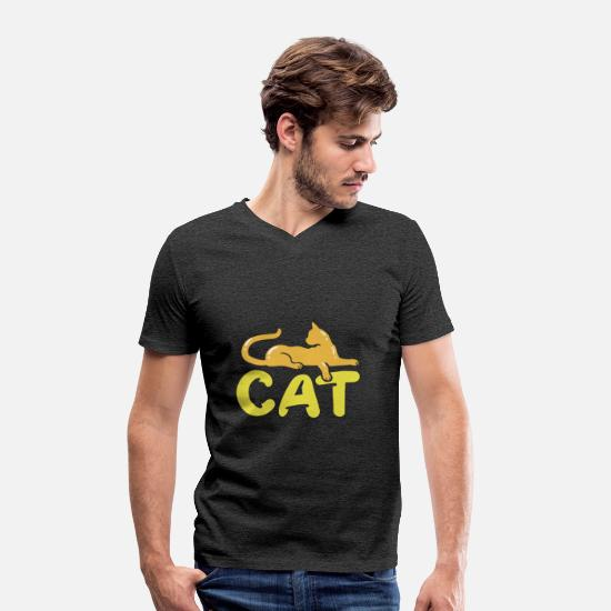 "Rest T-Shirts - Cat cats silhouette ""Cat"" - Men's Organic V-Neck T-Shirt charcoal grey"