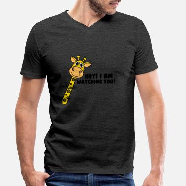 Animal Planet Lustige Cartoon Comic Giraffe Planet Animal - Männer Bio T-Shirt mit V-Ausschnitt