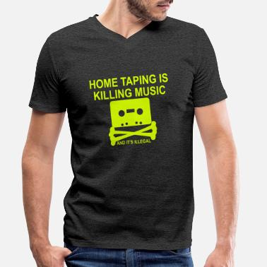 Personalize: Home Taping - Men's Organic V-Neck T-Shirt