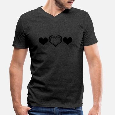 Three Hearts - Mannen V-hals bio T-shirt