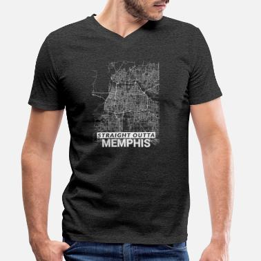 Memphis City Straight Outta Memphis city map and streets - Men's Organic V-Neck T-Shirt
