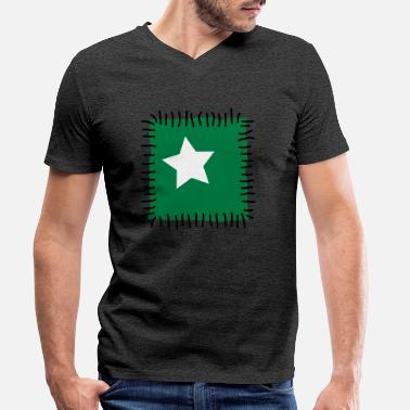 Patch Patch repair patchwork star sewing seam needle - Men's Organic V-Neck T-Shirt