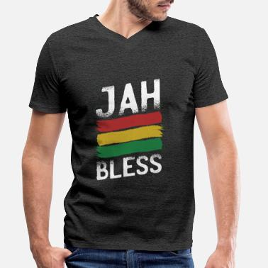 Jamaica - Jah bless - Rastafari - Men's Organic V-Neck T-Shirt