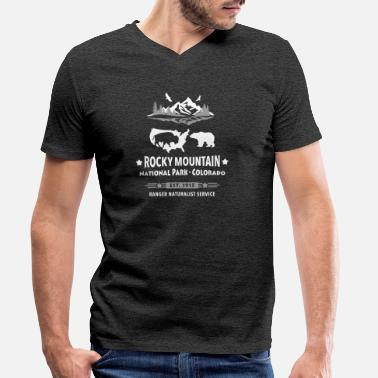 Rocky Mountain National Park Mountain Bison Grizzly Bear - Men's Organic V-Neck T-Shirt