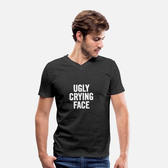 Ugly T-Shirts - Ugly Crying Face White - Men's Organic V-Neck T-Shirt charcoal grey