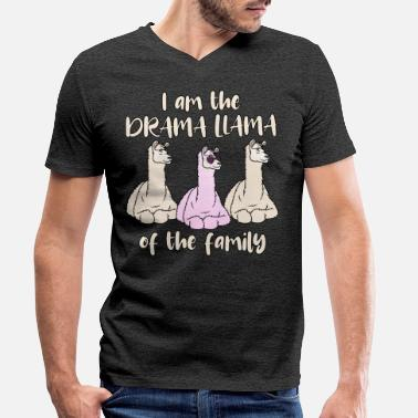 Drama Drama Lama Pink saying drama Llama Of The Family - Men's Organic V-Neck T-Shirt