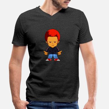 Comic Figure Little gangster comic figure - Men's Organic V-Neck T-Shirt