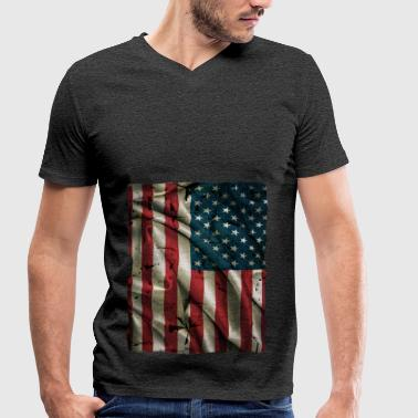 Vintage USA Flag - Men's Organic V-Neck T-Shirt by Stanley & Stella