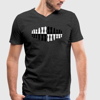 Chess figures twisted - Chess Schachmatt tactics - Men's Organic V-Neck T-Shirt by Stanley & Stella