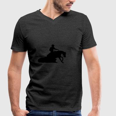 Sliding Stop Western Riding - Men's Organic V-Neck T-Shirt by Stanley & Stella