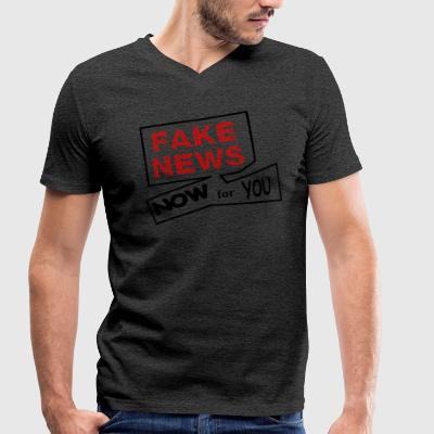 fake news - Men's Organic V-Neck T-Shirt by Stanley & Stella