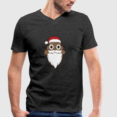 Poop Emoji Santa Claus Funny Christmas Holiday - Men's Organic V-Neck T-Shirt by Stanley & Stella