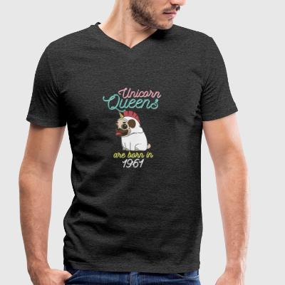 Unicorn Queens are born in 1961 - Men's Organic V-Neck T-Shirt by Stanley & Stella