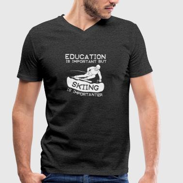 Education is important but Skiing is importanter - Men's Organic V-Neck T-Shirt by Stanley & Stella