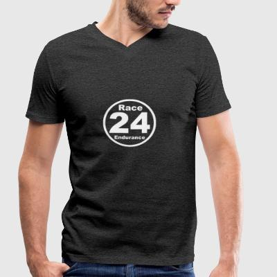 Race24 round logo white - Men's Organic V-Neck T-Shirt by Stanley & Stella