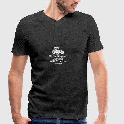 playinmg with tractors - Men's Organic V-Neck T-Shirt by Stanley & Stella