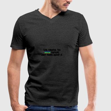 God created the homo sapiens - Men's Organic V-Neck T-Shirt by Stanley & Stella