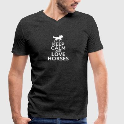 Keep calm and love horses - Men's Organic V-Neck T-Shirt by Stanley & Stella