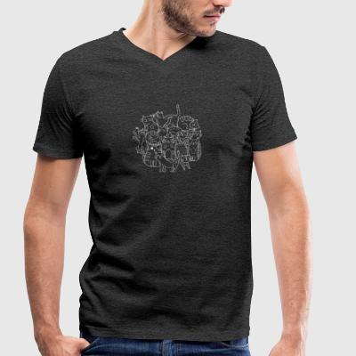 Cat drawing - Men's Organic V-Neck T-Shirt by Stanley & Stella