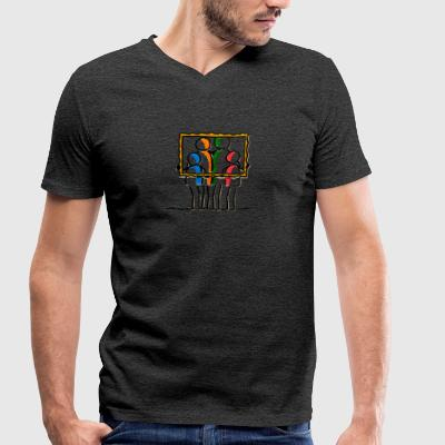 family - Men's Organic V-Neck T-Shirt by Stanley & Stella