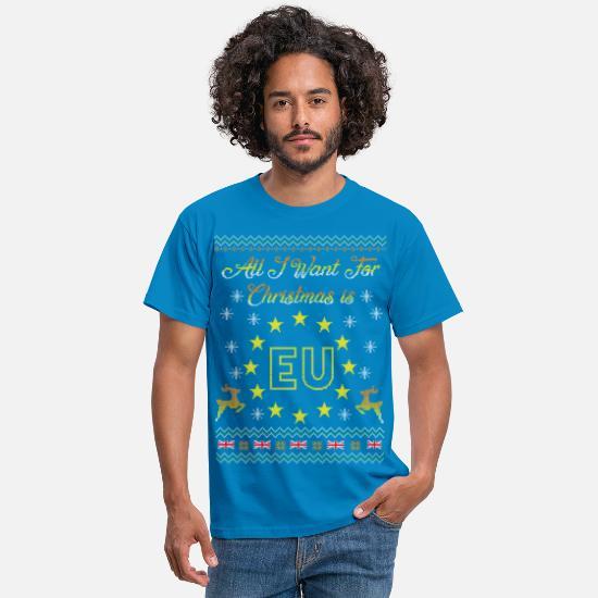 Christmas T-Shirts - Brexit All I Want Is EU Ugly Christmas - Men's T-Shirt royal blue