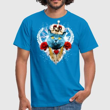 Blue Cat The King - cat crown laurel roses - Men's T-Shirt