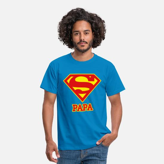 Fête T-shirts - DC Comics Superman Logo Papa  - T-shirt Homme bleu royal