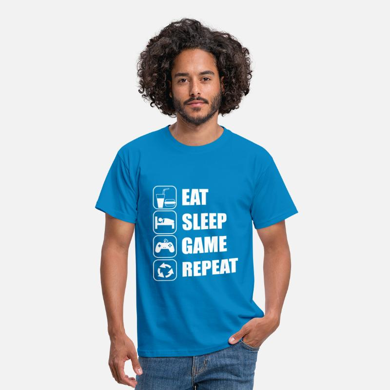 Jeux T-shirts - eat sleep game geek - T-shirt Homme bleu royal