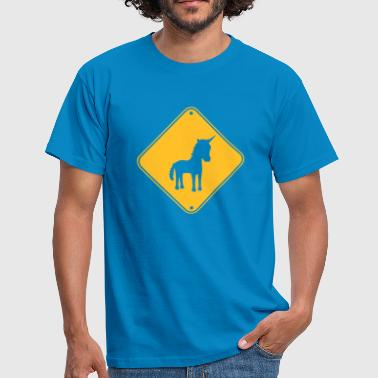 Pony Tegneserie zone forsigtighed advarsel fare note fare skjold - Herre-T-shirt