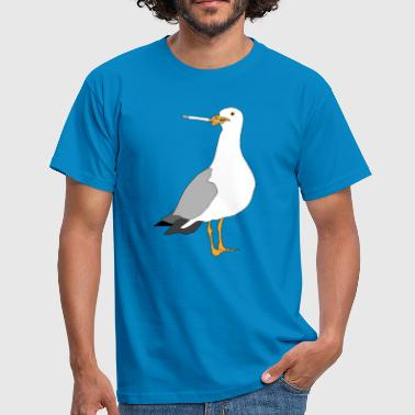 Smoking Cartoon Seagul smoking - Men's T-Shirt