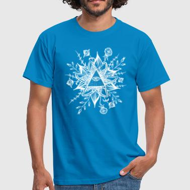 Pyramid with eye flowers and plants meditation - Men's T-Shirt