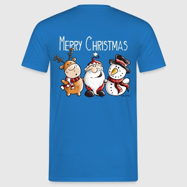 Merry Christmas Santa Claus, Reindeer and Snowman  - Men's T-Shirt