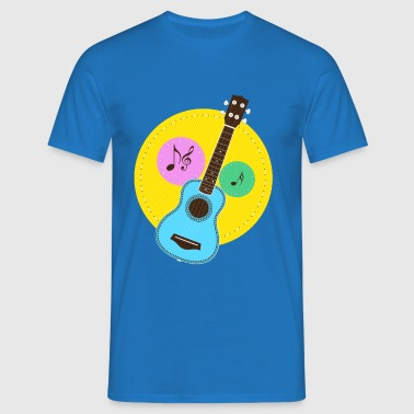 Fun colorful Ukuele and music notes - Men's T-Shirt
