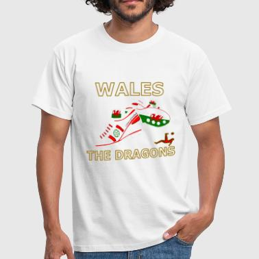 Kids Welsh wales football boots white red gold - Men's T-Shirt
