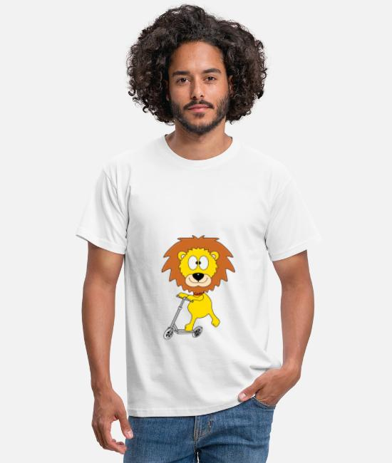 Heart T-Shirts - Funny lion - scooter - sport - kids - baby - fun - Men's T-Shirt white