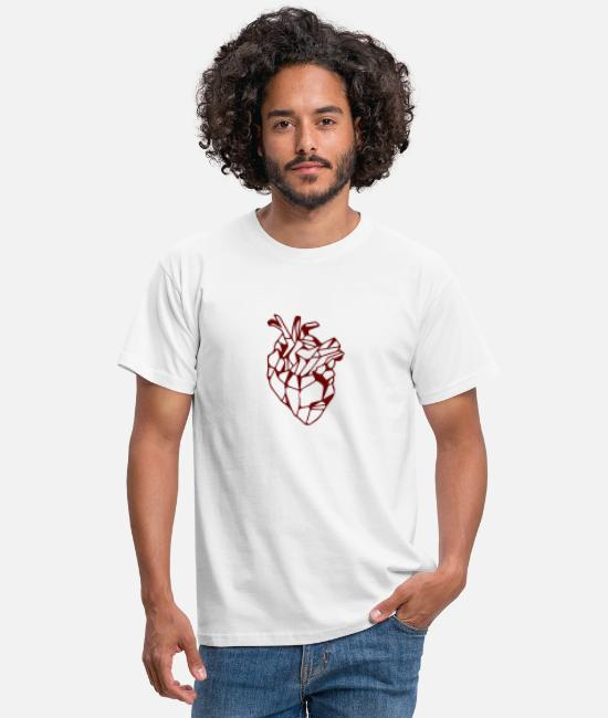 Meetkunde T-shirts - Red Geometric Hart - Mannen T-shirt wit