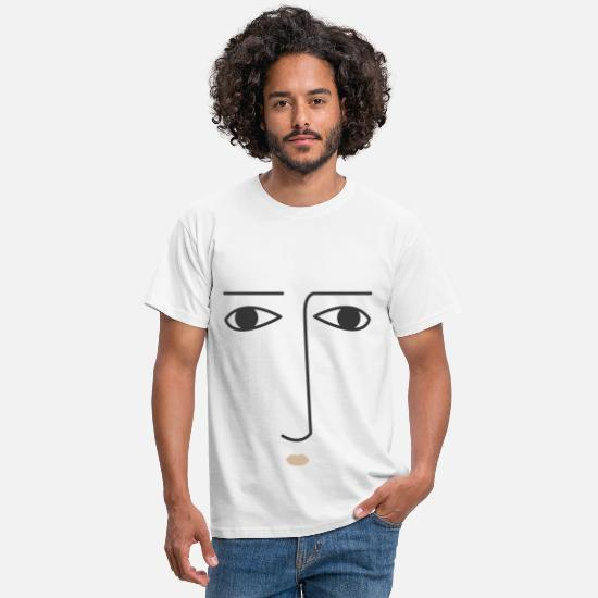 Neus T-shirts - Face Emotion Neutral Faces Feelings Expression - Mannen T-shirt wit