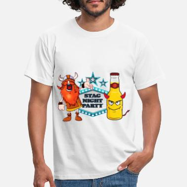 Stag Night Party with Saxon and beer bottle - Men's T-Shirt