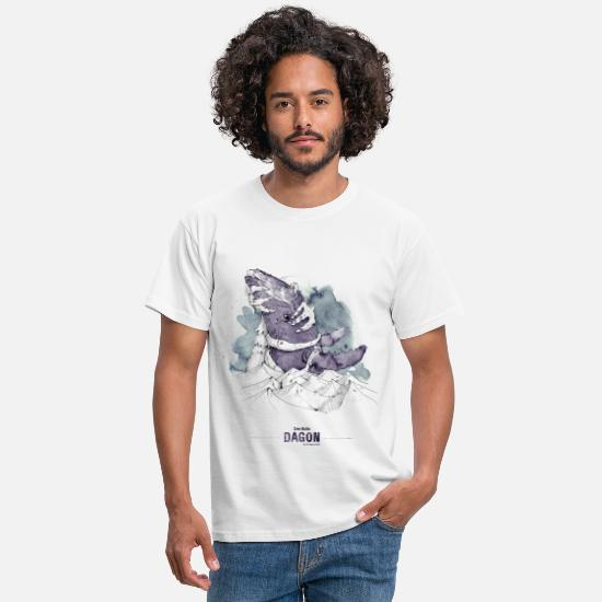 Aquarell T-Shirts - DAGON (H. P. Lovecraft) - Männer T-Shirt Weiß