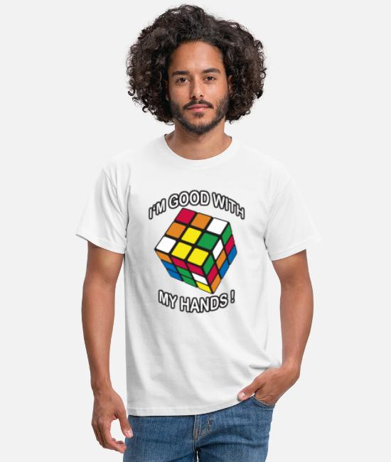 Speedcubing T-shirts - Rubik's Cube I'm Good With My Hands - T-shirt Homme blanc