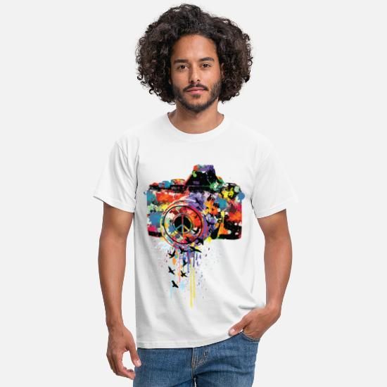 Coole T-Shirts - splattered camera - Männer T-Shirt Weiß