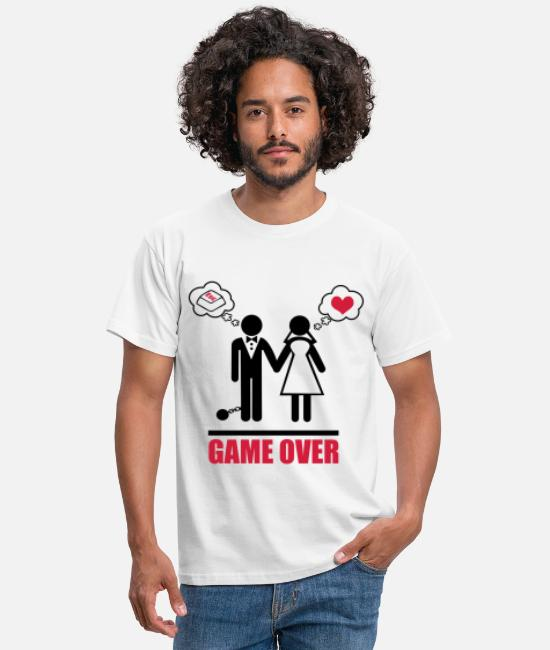 Wedding T-Shirts - Game over stag do hen party night bachelor - Men's T-Shirt white