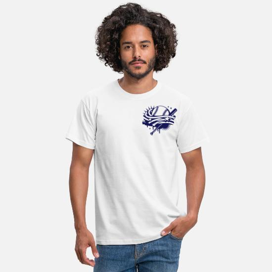 Baseball T-Shirts - Baseball and a baseball bat with stripes and stars - Men's T-Shirt white