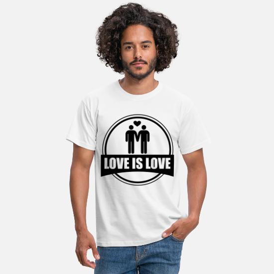 Gay Pride T-Shirts - LOVE IS LOVE GAY - Men's T-Shirt white